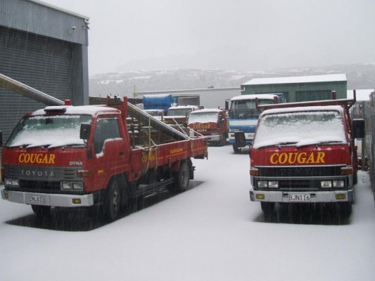 Snow covered Cougar Scaffolding Yard - August 2011